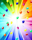 Festive color rays. Festive rays with many stars and balloons. Vector illustration Royalty Free Stock Image
