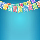 Festive Colored Background. Festive Background, Holiday Colorful Colored Bunting Flags on Blue Background ,  Drawing Crayons or Markers, Vector Illustration Royalty Free Stock Photos