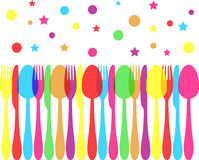 Festive colored cutlery Royalty Free Stock Photos