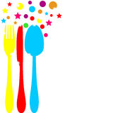 Festive colored cutlery. On a white background Stock Photography