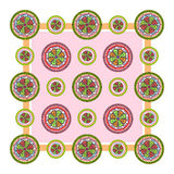 Festive colored stained glass. Set. Vector illustration. Bright image of stained glass. The symmetrical image Stock Photo