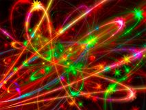 Glowing strokes - abstract digitally generated image. Festive colorful background - abstract computer-generated image. Fractal art - clowing strokes and stars Royalty Free Stock Images