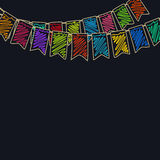 Festive Colorful  Background. Festive Background, Holiday Colorful Colored Bunting Flags on Dark Background ,  Drawing Crayons or Markers, Vector Illustration Stock Image