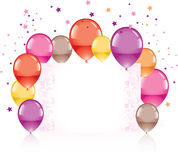 Festive colorful balloons. And greeting card, vector Stock Photos