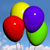 Festive Colorful Balloons. Festive Colorfull Balloons In The Sky For Birthday Or Anniversary Celebrations Royalty Free Stock Photo