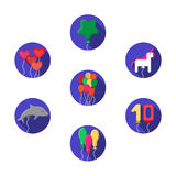 Festive colorful balloons icons set Royalty Free Stock Image