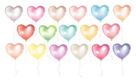 Balloons collection isolated. Festive and colorful balloons isolated on white background. Romantic balloons in heart shape for Valentines day flayers, greeting Royalty Free Stock Photography
