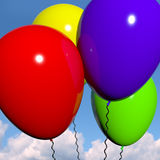 Festive Colorful Balloons In The Sky. For Birthday And Anniversary Celebrations Royalty Free Stock Photo