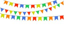 Festive colorful bright flags, garlands of Bunting isolated on white background. Vector elements for design. royalty free illustration