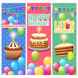 Festive Colorful Celebrations Vertical Banners Set. Congratulations and celebrations colorful vertical banners set with balloons cakes and happy birthday text Stock Photo