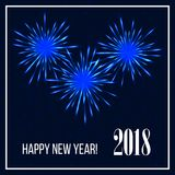 Festive colorful firework design. New Year 2018 background. Vector illustration Stock Images