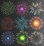Festive Colorful Firework Salute Burst on Transparent Background Stock Photography