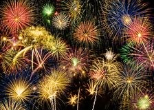 Festive and colorful fireworks display Stock Photo