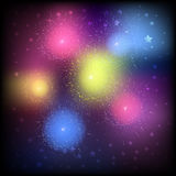 Festive colorful fireworks. In the night sky Stock Photo