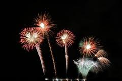 Festive colorful fireworks on night sky background. Celebratory holiday.  royalty free stock photo