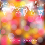Festive colorful greeting card, invitation with string of lights, Jewish stars and party flags with Jewish letters. Meaning Purim. Modern blurred vector vector illustration