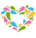 Festive Colorful Heart Icon Isolated on White Stock Photography