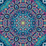 Festive colorful mandala pattern. Flower Geometric mandala frame border. Mandala festival art seamless pattern. Ethnic geometric print. Colorful repeating royalty free illustration
