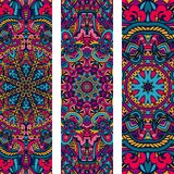 Festive colorful ornamental floral vector ethnic banner set. Festive colorful ornamental tribal ethnic bohemia fashion abstract banner set Stock Photography