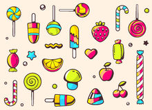 Festive colorful pattern with sweets on light background. Hand draw line art design for web, site, advertising, banner, poster, board and print Royalty Free Stock Photos