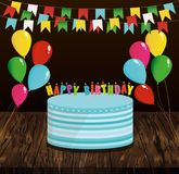 Festive colorful rainbow and a big cake with candles. Happy Birt. Hday. Greeting card or invitation for a holiday. Vector on wooden background Royalty Free Stock Photography