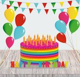 Festive colorful rainbow and a big cake with candles. Happy Birt. Hday. Greeting card or invitation for a holiday. Vector on wooden background Stock Images