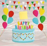 Festive colorful rainbow and a big cake with candles. Happy Birt. Hday.  Empty Yellow sheet of paper for notes. Sticker. Greeting card or invitation for a Royalty Free Stock Photos