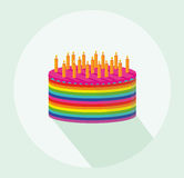 Festive colorful rainbow and a big cake with candles. Happy Birthday. Greeting card or invitation for a holiday. Vector Stock Photos
