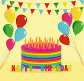 Festive colorful rainbow and a big cake with candles. Happy Birthday. Greeting card or invitation for a holiday. Vector Stock Photo
