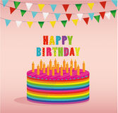 Festive colorful rainbow and a big cake with candles. Happy Birthday. Greeting card or invitation for a holiday. Vector Stock Photography