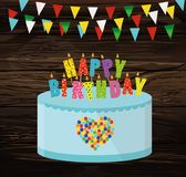 Festive colorful rgarland of flags and a big cake with candles. Happy Birthday. Greeting card or invitation for a holiday. Vector on wooden background Royalty Free Stock Images