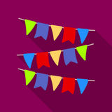Festive colorful ribbons. Party and parties single icon in flat style vector symbol stock illustration. Royalty Free Stock Photo