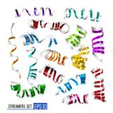 Festive colorful ribbons on white. Background. Realistic vector streamers. Carnival party serpentine decoration for your banner and greating card design Stock Photo