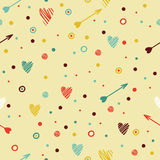 Festive colorful seamless pattern with heart and Royalty Free Stock Photos