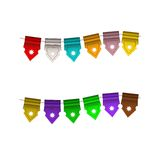 Festive Colorful small flags. Colorful tags. Festive Colorful small flags hang on line. Colorful tags Royalty Free Stock Photo