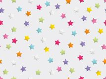 Festive colorful star confetti seamless pattern on white background. Vector illustration royalty free stock image
