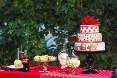 Festive colorful table decoration. Royalty Free Stock Image