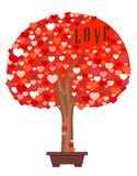 Festive colorful tree of hearts. Flat vector cartoon illustration. Vector image of tree of hearts of red hues in flowerpot with inscription love on white Stock Photos