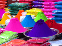 Festive Colors. Rangoli colors for sale on occasion of a festival like Diwali or Holi in India Stock Photos