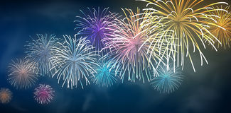 Festive colour firework background. Vector illustration Royalty Free Stock Images