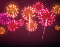 Festive colour firework background. Vector illustration Royalty Free Stock Photos