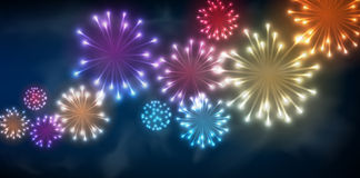 Festive colour firework background. Vector illustration Stock Photography