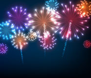 Festive colour firework background. Vector illustration Stock Photo