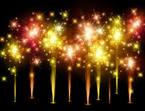 Festive colourful firework background. Vector illustration Stock Photography