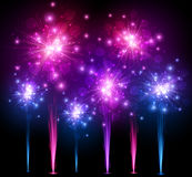 Festive colourful firework background. Vector illustration Stock Photo