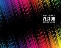 Festive comic diagonal dash speed line gradient of iridescent rainbow color on black background. Design element. Vector Stock Photography