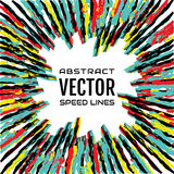 Festive comic radial multicolor speed line on white background, banner template. Effect power explosion illustration Royalty Free Stock Photography