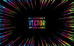 Festive comic radial rainbow speed line, iridescent color on black background, like fireworks. Effect power explosion. Design element Stock Image
