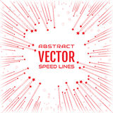 Festive comic radial speed line with red stars on white background, like fireworks Royalty Free Stock Image