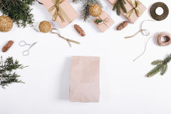 Festive composition: boxes with gifts, ribbons, paper bag, Chris Royalty Free Stock Photo